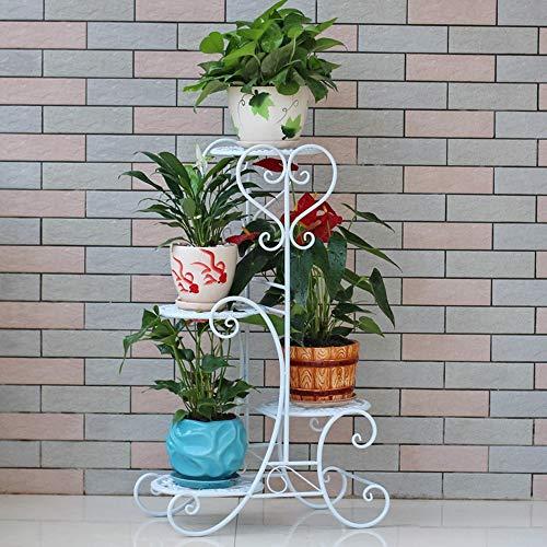 Support de fleurs de Fer Européenne Simple Multi-Couche étage Pot Rack Salon Balcon bonsaï Rack 40 * 25 * 80 cm (Couleur : Blanc)