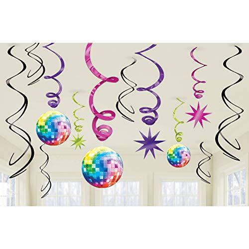 NET TOYS Suspension Boule a Facettes Déco Ambiance Disco Party 12 pièces Guirlande Années 70 Fluo Corde Tourbillon Décoration de Chambre Néon