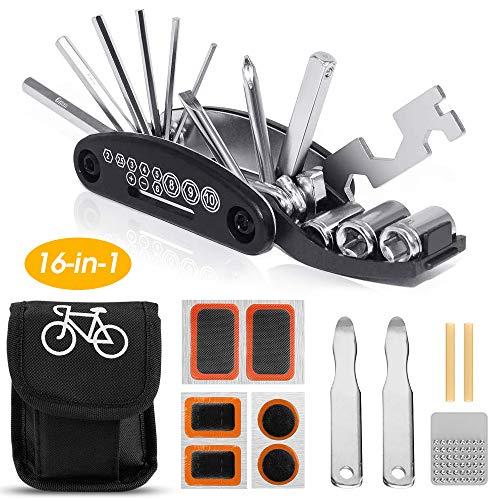 Ohiyoo Fahrrad-Multitool, 16 in 1 Werkzeuge für Fahrrad Reparatur Set Multifunktionswerkzeug Reparatur Fahrradwerkzeug, Werkzeugset Fahrrad, Selbstklebendes Fahrradflicken, Aufbewahrungstasche.