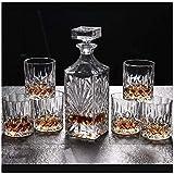 Bottiglia Cremagliera del Vino Portavolo Porta Bicchiere da Bicchieri da Whisky Decanter e Occhiali Set 750ml Decanter di Whisky di Cristallo Senza Piombo con 6 Bicchieri da Whisky Confezione Reg