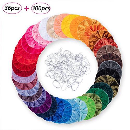 Viccess Scrunchies Terciopelo y 300 Piezas Banda Transparente,Scrunchies de Pelo Gomas de Pelo Scrunchies Multicolor de Terciopelo Accesorios para el Cabello (36pcs)