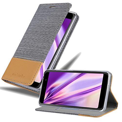 Cadorabo Hülle für WIKO View MAX in HELL GRAU BRAUN - Handyhülle mit Magnetverschluss, Standfunktion & Kartenfach - Hülle Cover Schutzhülle Etui Tasche Book Klapp Style