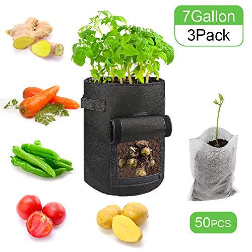 Sacchetti per Coltivazione di Patate, Confezione da 3 Sacchetti da Coltivazione da 7 galloni/Sacchetti per Piante da Vaso di aerazione con Manici (Nero)