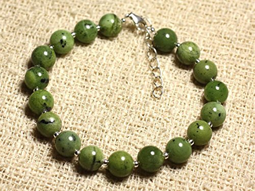 LOVEKUSH 925 Sterling Silver Artisan Loose Silver Helling 8mm Stracking Green Nephrite Jade Bracelet Round, Smooth 7