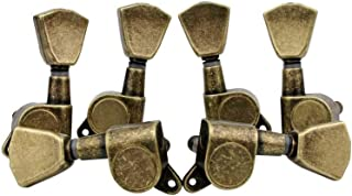 Guyker 6Pcs Guitar Machine Heads (3 for Left + 3 for Right Hand) - 1:15 String Tuning Key Peg Tuners Replacement for Electric or Acoustic Guitars (Antique Brass)