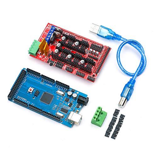 KKmoon Kit Controller Stampante 3D Mega 2560 R3 Scheda di Controllo Principale CH340 + Scheda di Espansione 1.4 + Cavo USB + Modulo Driver DRV8825 e Dissipatore di Calore
