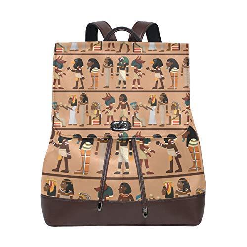 COOSUN Damen Rucksack aus PU-Leder mit ägyptischem Pharao-Muster, für Reisen, Schule, Freizeit, Tagesrucksack