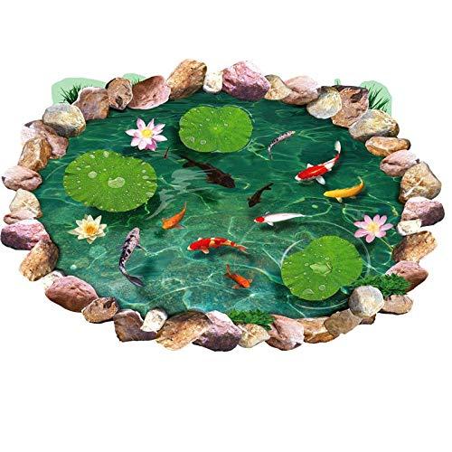 HALLOBO® Aufkleber XL 3D Fische Aquarium Teich Boden Wand Aufkleber Decal abnehmbar Sticker Wohnzimmer Schlafzimmer Kinderzimmer Küche Bad Badzimmer Korridor Esszimmmer