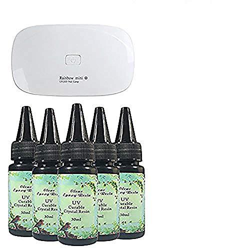 Frenshion 5 Stücke 30 ML Kristall Epoxy Harz UV Kleber Nail Art Werkzeuge, 1 Stück Mini UV LED Lampe für DIY Home Professionelle Handwerk Schmuck Ohrringe Halskette Armband Nail Art Zubehör