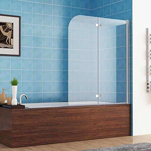 MIQU 110 x 140 cm Badewannen 2 TLG. Faltwand Aufsatz 180° Duschwand Duschabtrennung Nano Glas