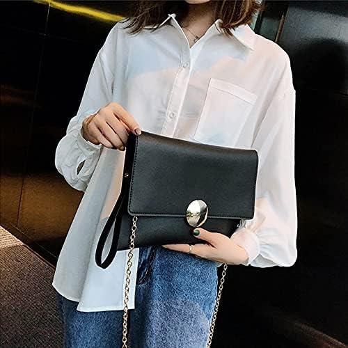 Shoulder Bags Fashion Luxury Handbags Women Chain Crossbody Bags PU Leather Designer Envelope Messenger Bag Evening Female Daily Clutch Bag (Color : Black, Size : 29x2x20cm)