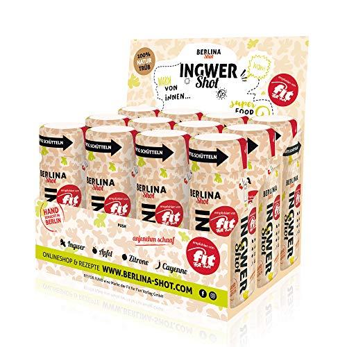 Berlina Ingwershot Box - 12 Shots á 60ml - frisch gepresster Ingwerdirektsaft, naturtrüber Apfel- und Zitronendirektsaft + Cayennepfeffer.