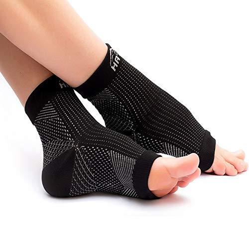 Kompressionssocken/Fußbandage für optimale Kompression beim Sport, Laufen oder Unterstützung bei Plantar Fasciitis, Fersensporn – Kompressionsstrümpfe für Damen und Herren (Schwarz, L/XL, 2 Paar)