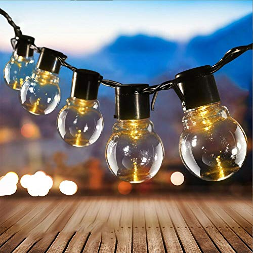 Solar String Lights Outdoor Garden, Solar Powered 20 LED Globe Patio Hanging Lights IP65 Waterproof Retro Clear Ball Decorative Fairy Lights with Hook for Yard Home Wedding Parties (Warm White)