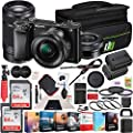 Sony Alpha a6000 Mirrorless Digital Camera with 16-50mm Lens Bundle with Photo and Video Professional Editing Suite, 2X 64GB Memory Card, Bag, Battery and Accessories (5 Items)