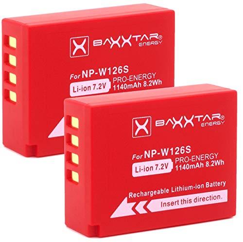 Baxxtar PRO 2X - NP-W126s NP-W126 (echte 1140mAh) kompatibel mit Fujifilm X100F X100V X-A5 X-A7 X-E4 X-Pro2 X-S10 X-T3 X-T10 X-T20 X-T30 X-T100 X-T200 usw.