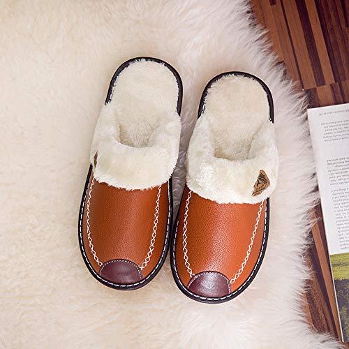 Nwarmsouth Zapatillas de Zapatos Easy Close para Hombre,Zapatos de algodón Antideslizantes y a Prueba de Golpes, Pantuflas de Piel-marrón_42-43,Algodón Calentar Zapatilla Mujer Hombres