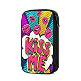 Kiss Me Word Bubble Pop Retro Colorful Electronics Organizer Multifunctional Storage Bag Data Cable Holder Case Travel Gadget Bag for Charging Cable Cellphone USB Memory Flash Stick Bulk Thumb Drive