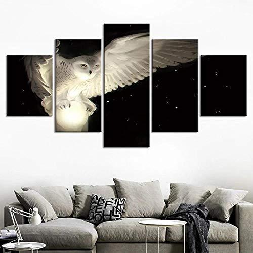 WKXZZS Cuadro sobre Lienzo - 5 Piezas - Mystical White Night Owl - Ancho: 150Cm, Altura: 80Cm - Listo para Colgar - En Un Marco