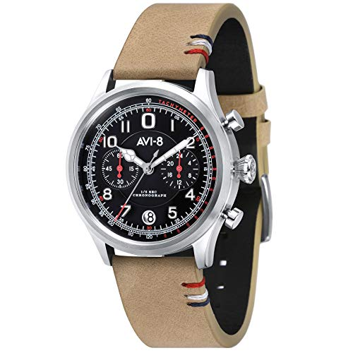 AVI-8 Men's Flyboy 42mm Beige Leather Band Steel Case Quartz Watch AV-4054-02