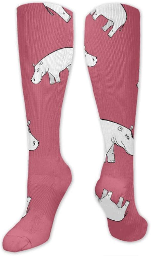 Fashion Knee High Socks Repeating Pattern Cute Hippopotamus Baby Products Casual Socks Mens Socks Long Socks For Daily Wear Cosplay