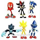 Mdcgok Yangzou 6 Piezas/Set Figura de Juguete 5-8 cm Sonic The Hedgehog Anime Pop Figuras de acción muñecas Juguetes para niños para niños Adornos Decorativos Dibujos Animados Juguetes Regalos