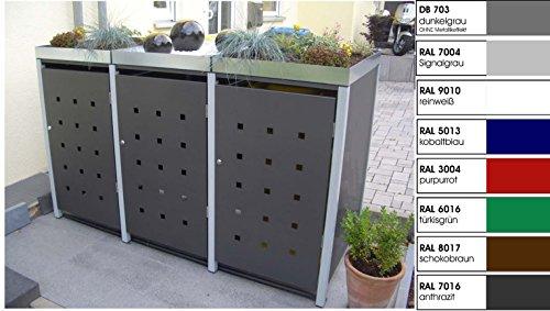 Metall Mülltonnenbox für 3 Tonnen, Müllcontainer, Müllbox. Made in Germany. # Größe: Für 3 Tonnen bis 240 l # Farbe: Farbenauswahl per EMail angeben # Dach: Mit Pflanzwanne # Stanzung: ST 3/5