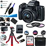 Canon EOS M50 Mirrorless Camera Kit w/EF-M15-45mm and 4K Video - Black - Essential Accessories Bundle