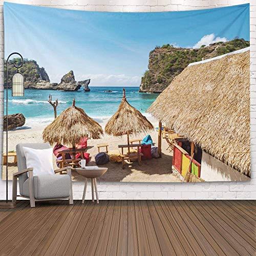 N\A Tapiz de Pared Tapiz de Pared Colgante para D & Eacute; Cor Sala de Estar Dormitorio Vista de la Costa con Casitas de pie en la Playa Cerca del mar Atuh Nusa, Verde púrpura