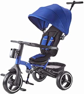 Children Tricycle Folding Baby Trolley Child Stroller Child Toy Car (Color : Blue) JB-Tong