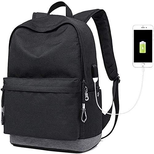 M-hwbb Mochila de Carga USB, Casual Ultra Ligero Excursión a Caballo de la Mochila Impermeable Juvenil Oxford Spinning Mochila Unisex del Bolso de Escuela (Color : Black)