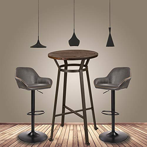 Glitzhome Rustic Steel Bar Table Round Wood Top and Dark Grey Adjustable Swivel Bar Stool with Back Support,Set of 3