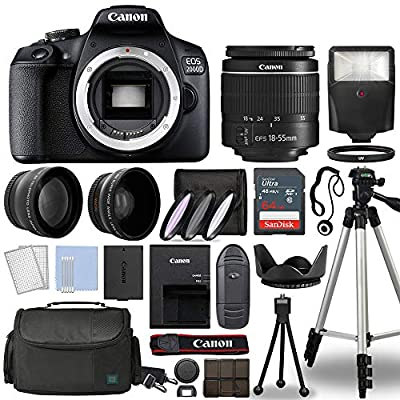 Canon EOS 2000D / Rebel T7 Digital SLR Camera Body w/Canon EF-S 18-55mm f/3.5-5.6 is STM Lens 3 Lens DSLR Kit Bundled with Complete Accessory Bundle + 64GB + Flash + Case & More - International Model from Canon