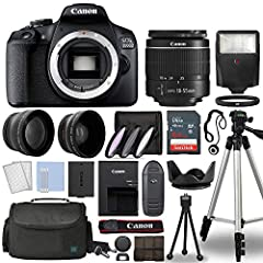 "Deluxe Bundle with: Camera, 18-55mm Lens, Wide-angle & Telephoto, 64gb, Case, Filter Kit, Flash, Tripod & More! 24.1MP APS-C CMOS Sensor - DIGIC 4+ Image Processor - 3.0"" 920k-Dot LCD Monitor Full HD 1080p Video Recording at 30 fps - 9-point AF Syste..."