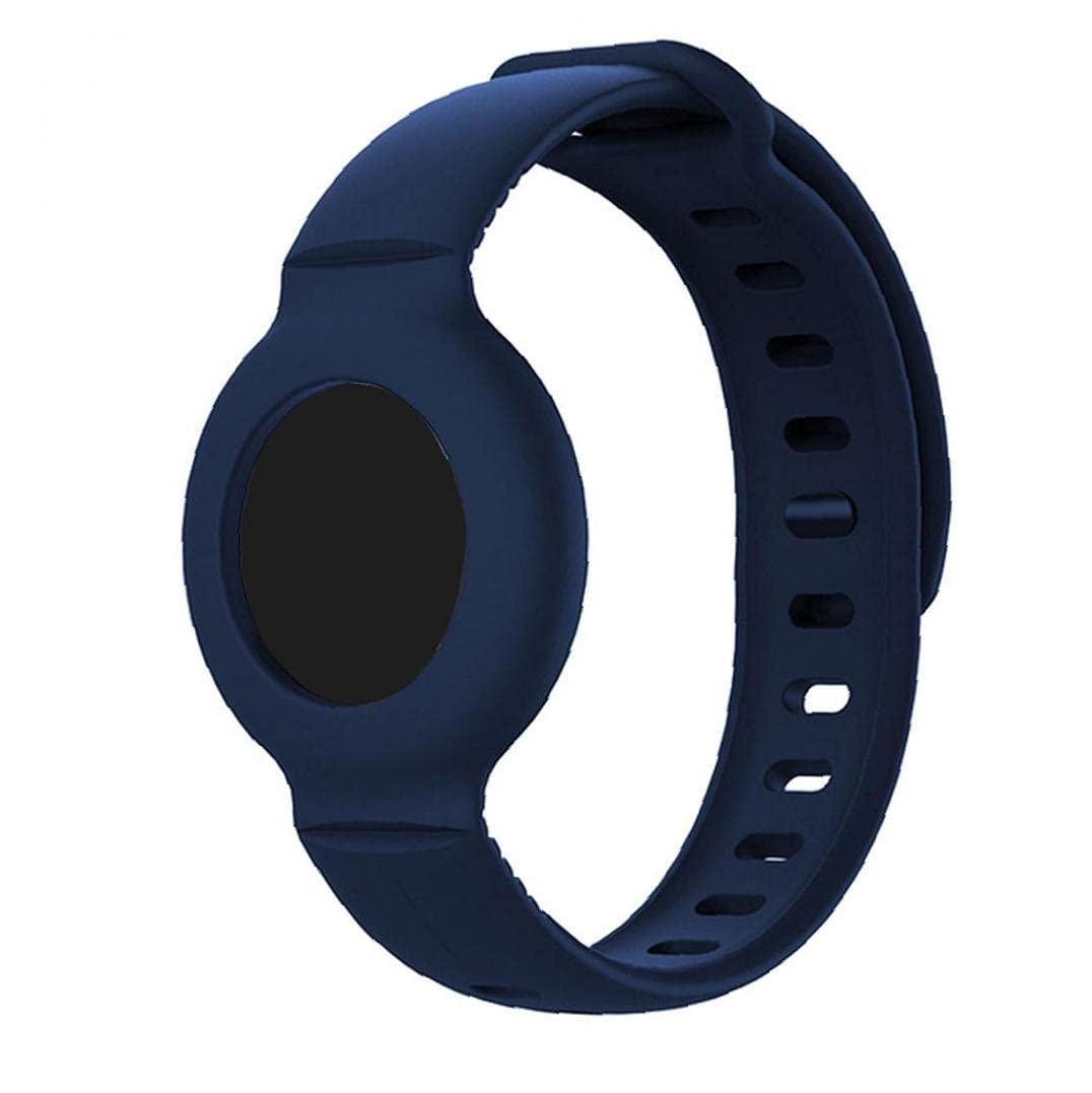 Silicone Strap Compatible with Airtag Anti-Lost Protective Bracelet Tracker Wristband Dark Blue Electronic Parts
