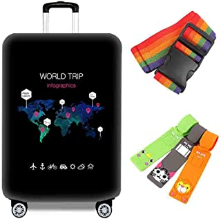 Suitcase Cover Home Travel Personality Waterproof and Dustproof Cover Aircraft Luggage Anti-Wear Shockproof Bag 18-32 Inch...