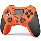 TERIOS Wireless Controllers Compatible with Playstation-4 Game Controllers for PS-4 Pro, PS-4 Slim, Built-in Speaker - Stereo Headset Jack Multitouch Pad - Rechargeable Lithium Battery(Orange)
