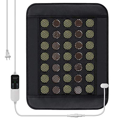 "Far Infrared Heating Pad Mat for Back, Neck, Shoulders, Cramps, Pain Relief with Natural Jade and Tourmaline, Auto Shut Off, Smart Timer and Heat Settings, 15.7"" x 20.5"" (AC)"