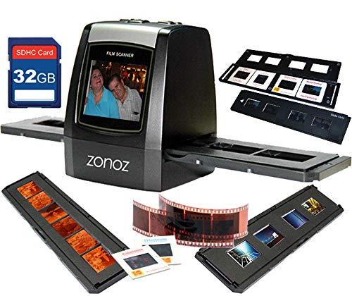 zonoz FS-ONE 22MP Ultra High-Resolution 35mm Negative Film & Slide Digital Converter Scanner w/TV Cable, (1) Negative, (4) Slide Trays, 32GB SD Card & Worldwide Voltage 110V/240V AC Adapter (Bundle)