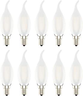 10 unidades Bombilla LED E14 con Filamento, 4W (equivalente a 30W), Bombillas Vela LED Casquillo Fino,Blanco Cálido 2700K,No Regulable