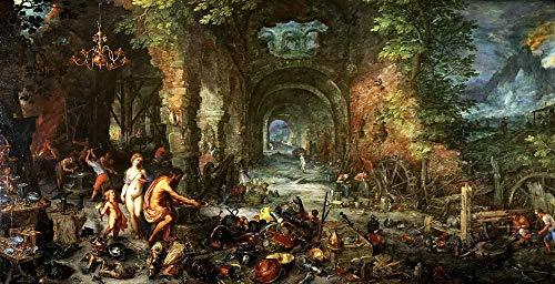 AMANUO Jan Brueghel el Viejo Impresiones Pinturas Famosas sobre Lienzo Alegórico 120X60 cm Cuadros Enrollada - Alegoría Fuego