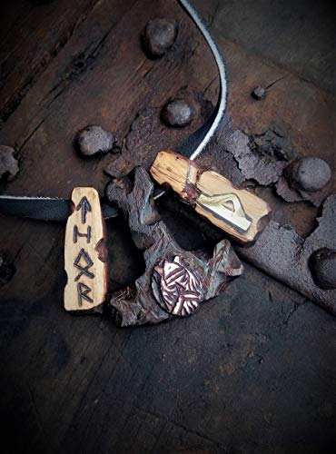 Thor's Hammer Men's pendant with the rune Thurisaz Celtic Viking Nordic Mjolnir FREE SHIPPPING Thor Mjǫllnir is fully handcrafted from leather, wood, bronze and elk horn