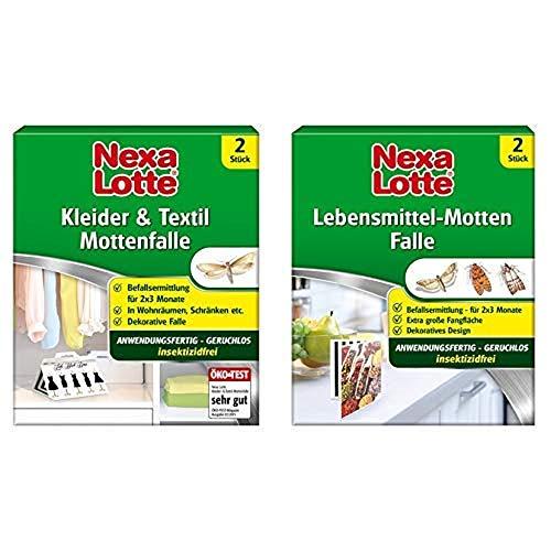 Nexa Lotte Kleider- & Textil-Mottenfalle, 2 Fallen & Lotte Lebensmittel-Motten Falle, 2 Fallen