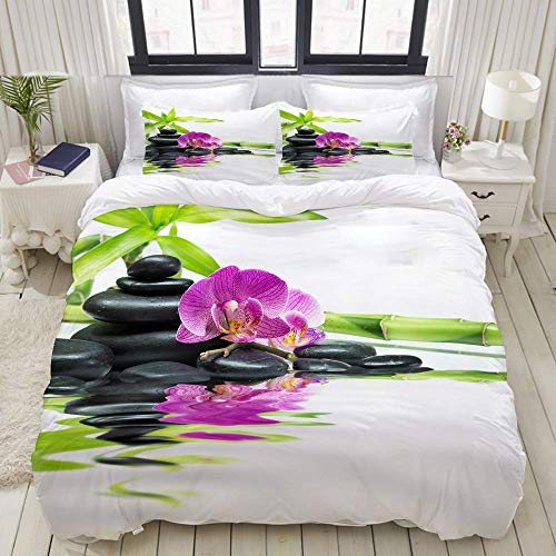 Duvet Cover,Asian Relaxation Ways with Zen Massage Stones Purple Orchid and a Bamboo,Bedding Set Ultra Comfy Lightweight Luxury Polyster Quilt Cover Sets (3pcs)