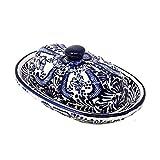 Handmade Pottery Butter Dish, Blue Flower