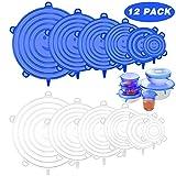 Newdora Coperchi in Silicone Elastici Coperchi Pacco da 12 Pezzi, Coperchio in Silicone per Alimenti, Riutilizzabile ed Espandibile Coperchio per Vari Contenitori, Piatti, Scodelle, Lattine