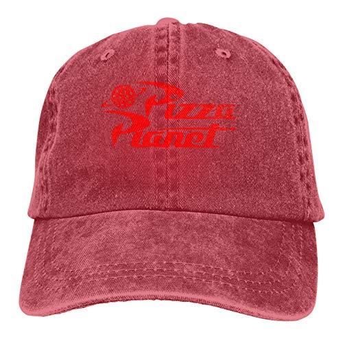 Gorra de mezclilla para pizza y planeta, gorra de béisbol, clásico, ajustable, informal, para hombres y mujeres - rojo - talla única