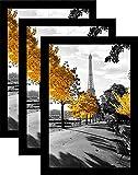 Solid Wood 24x36 Poster Frame picture frame (3 Pack) Black | Wide Molding | Polished Plexiglass | Hanging Hardware Included