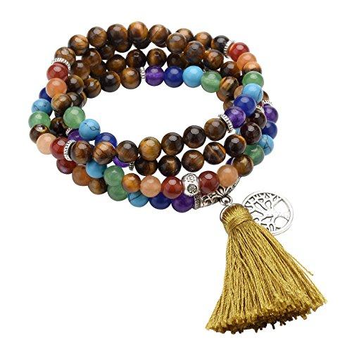 CrystalTears 108 Perlen Edelstein Yoga Armband Chakra Wickelarmband Buddha Tibetische Gebetskette Healing Reiki Stein Mala Kette Halskette mit Lebensbaum Anhänger (Tigerauge)