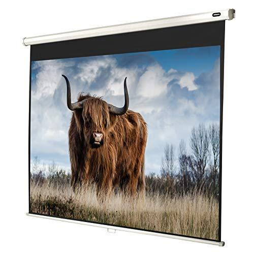 celexon manuell ausziehbare Heimkino- und Business-Beamer-Leinwand 4K und Full-HD Rollo-Leinwand Economy - 180 x 135 cm - 4:3 - Gain 1,0